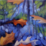 "Sherry Palmer, The Pond with Oak Leaves, oil/inen, 8 1/8"" x 8 1/8"", $725"