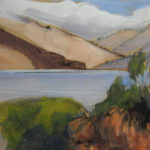 "Sherry Palmer, Loch Hourn and Pink Hills, Watercolor, sumi & gouache, 6 1/8"" x 7 3'4"", $375"